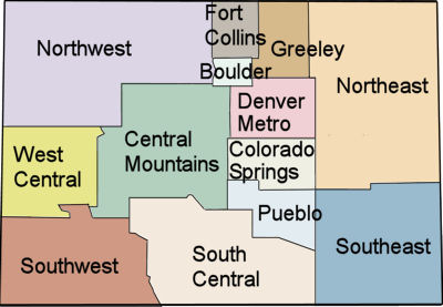 Map of Colorado Business Regions